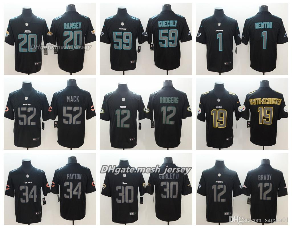 06f07c3b 2019 Bears Panthers Jersey Jacksonville New Jaguars Green Bay Stitched  Packers Steelers 84 Brown Color Rush Football Jerseys