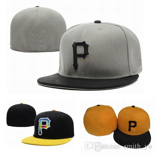 Fashion Letter P Cap Men Fitted Hats Pittsburgh Flat Brim Embroiered ... 8d33a7869650