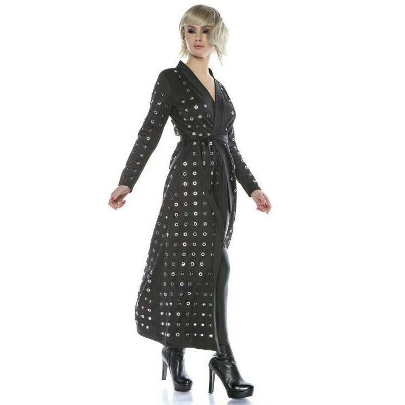 Qlzw 2018 New Fashion Women V Neck Full Sleeve Metal Circle Cardigan