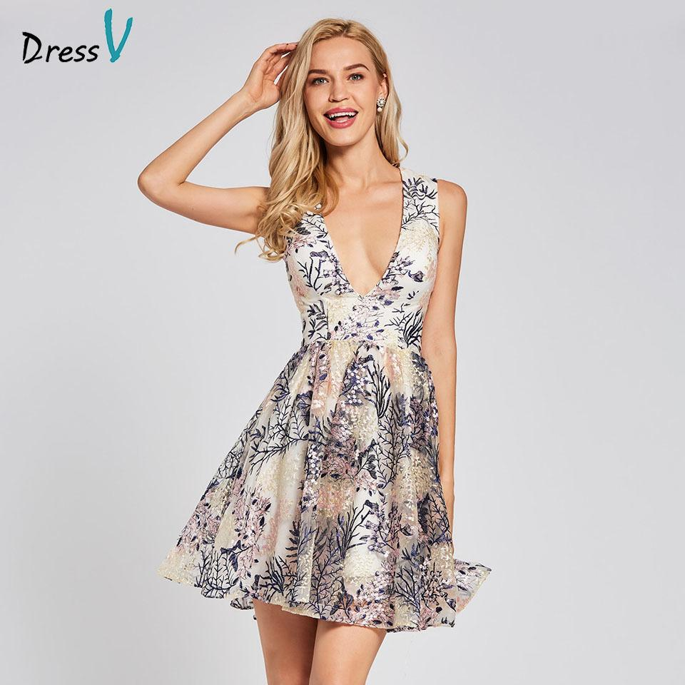 Dressv Ivory Cocktail Dress Cheap V Neck a Line Sleeveless Zipper Up  Graduation Party Dress Elegant Fashion Cocktail Dress D19011501 Online with  ... 08a2075d7d07