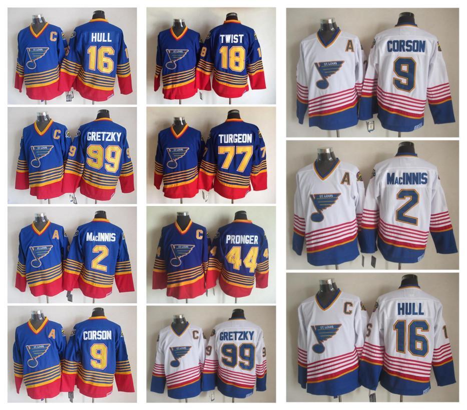 82917235 2019 St. Louis Blues Ice Hockey Jerseys 2 AL MacINNIS 9 Shayne Corson 16  Brett Hull 99 Wayne Gretzky Throwback Vintage CCM Stitched Jerseys From ...