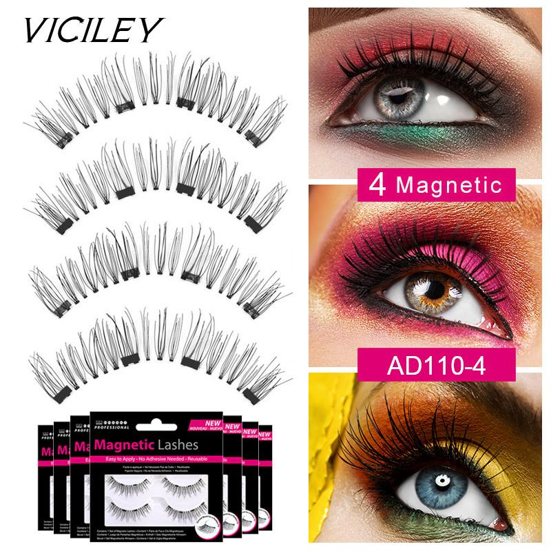 8131bb9d747 VICILEY Magnetic Eyelashes With 4 Magnets Handmade 3D/6D Magnetic ...
