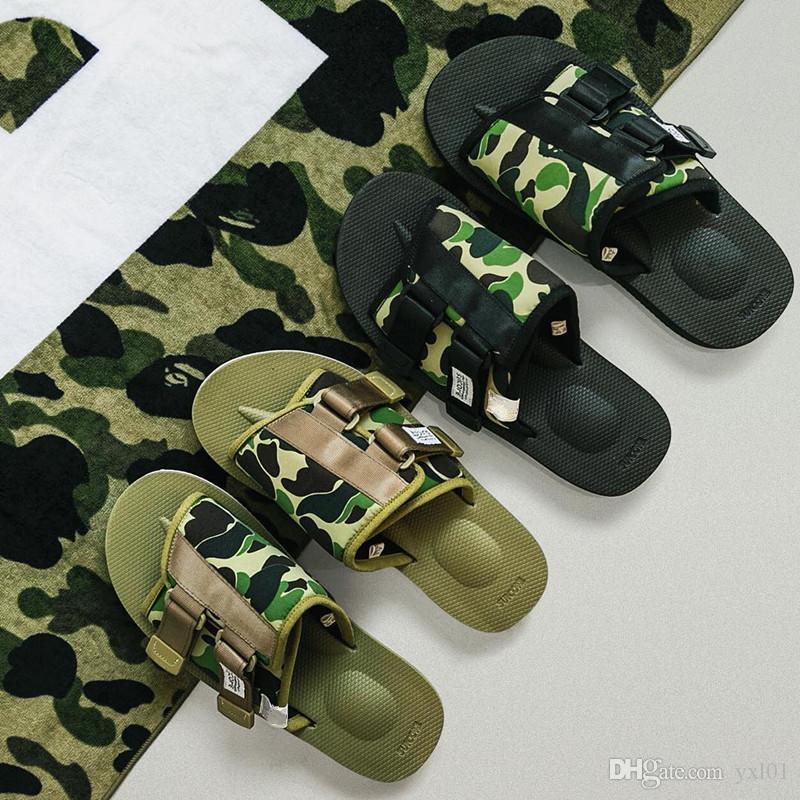 4e186d53b8 2019 New Brand A Bathing X Suicoke Mastermind JAPAN Skull X Beach Slippers  Olive Green MMJ Women Lovers Fashion Casual Sandals Size 36-45 A Bathing  Beach ...
