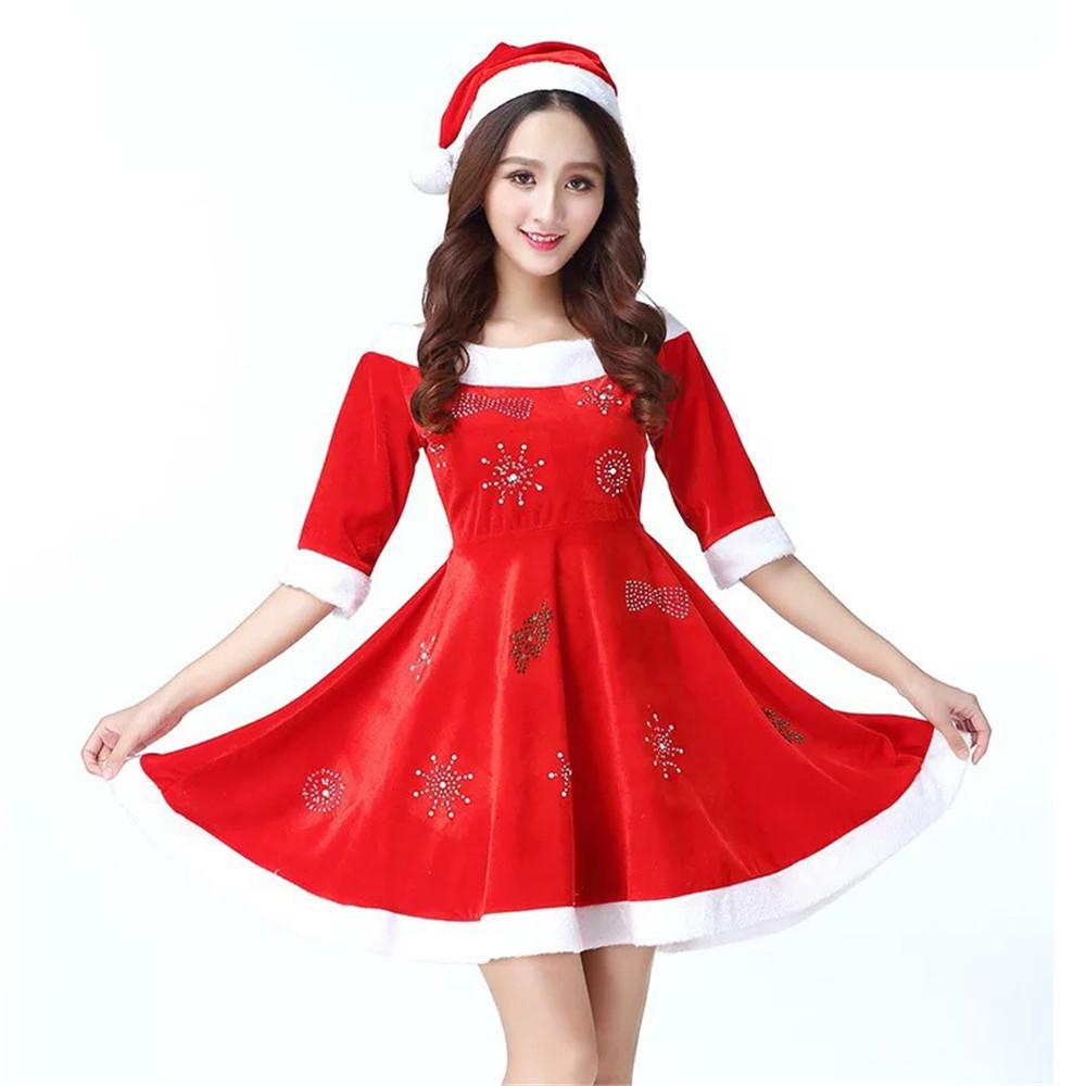 9204ad583 Fashion Velvet Hot Drill Snowflake Adult Party Perform Hats Dress Sexy Christmas  Costume Mascot Mascotte Anime Bulldog Mascot Suit Very Cheap Mascot ...