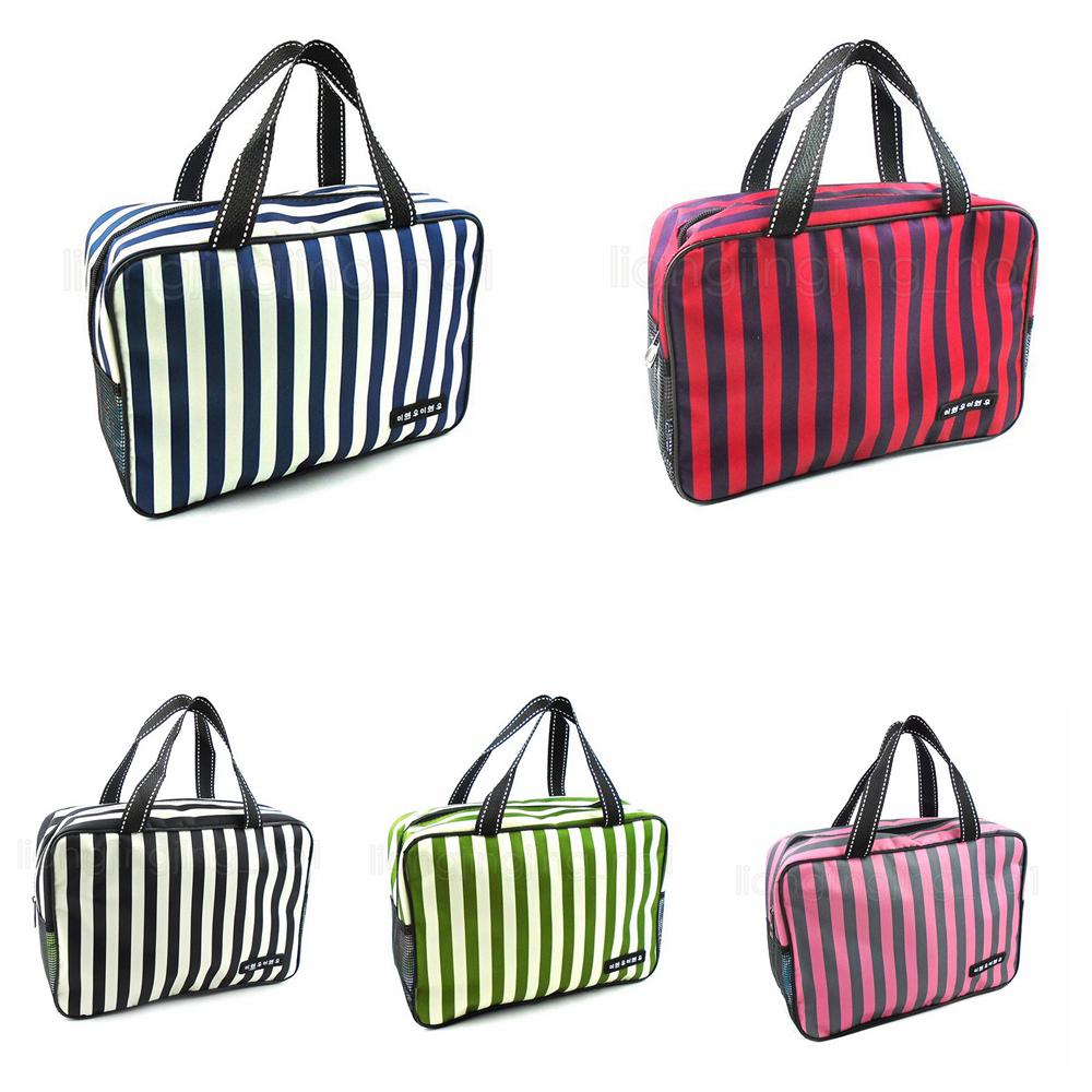5Styles Stripe Toiletry Bag Travel Impermeable oxford Bags Beath handbag Wash Bath Bag Outdoor Makeup Pouch Storage Organizer FFA2812