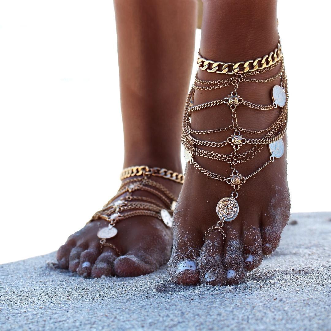 Acquista Sandali Sandali Caviglie Da Spiaggia Donna Sandali Ummer Scarpe Da Donna  Calzature Con Monete In Metallo Catena A Più Strati Con Frange Footchain A  ... 20be31f639f