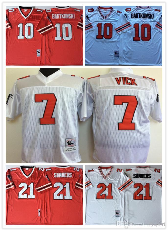 100% authentic fd9a7 1f782 NCAA Mens Atlanta Falcons Red White 10 Steve BARTKOWSKI 21 Deion Sanders 7  Michael Vick Football Jerseys good qulity