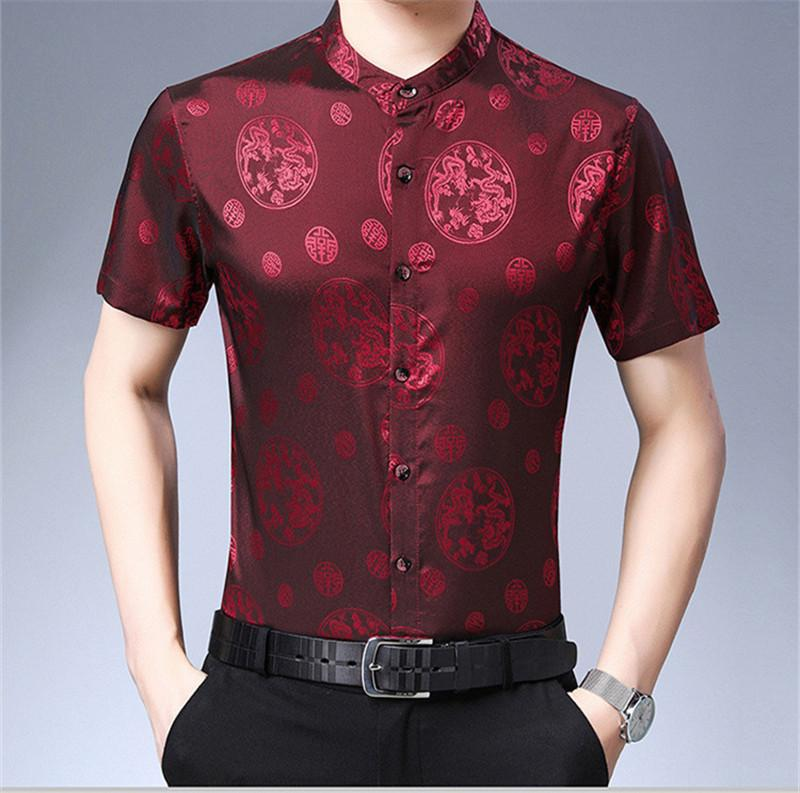 Chinese Style Mens Summer Designer Shirts Short Sleeve Turn Down Collar Fashion Clothing Casual Business Loose Homme Apparel