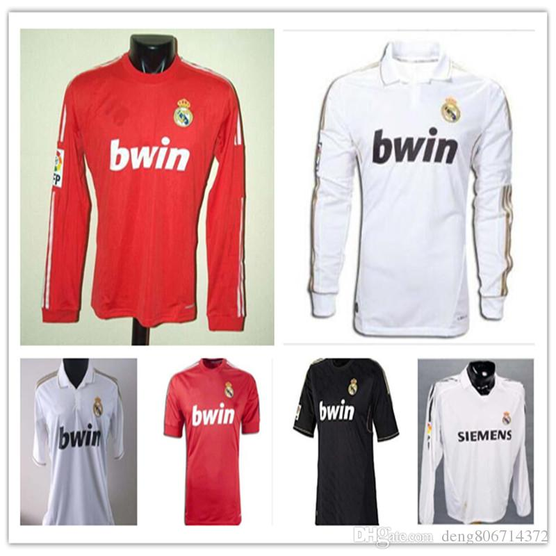the best attitude 10f44 e2823 Retro 2011 2012 Real Madrid Home Soccer Football Jersey Sergio Ramos KAKA  HIGUAIN RONALDO ZIDANE Beckham 2005 2006 RAUL Robinho Long sleeve