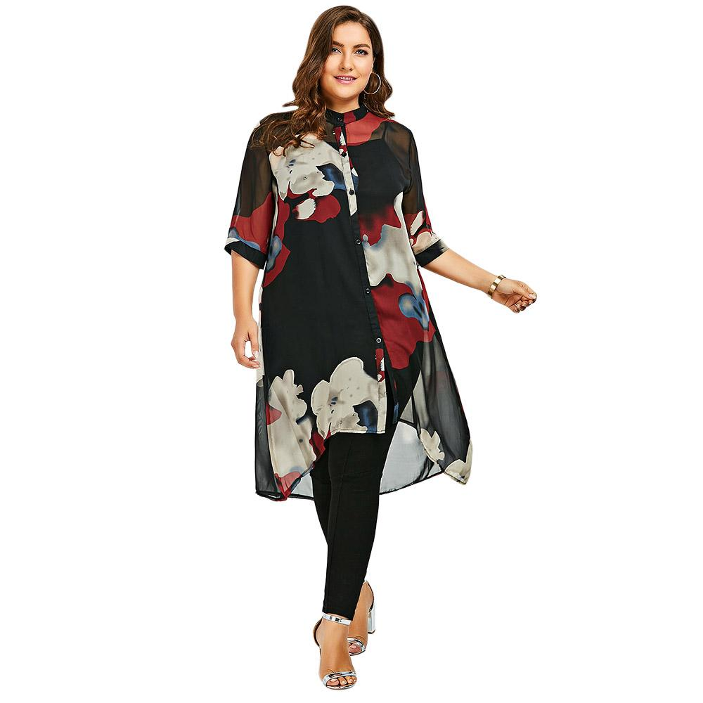 348303a52ab CharMma 2017 New Fashion Plus Size 5XL Longline Button Up Flowy Tunic Top  Women Casual Loose Chiffon Floral Print Shirt Big Size Ot Shirts Best  Designer T ...