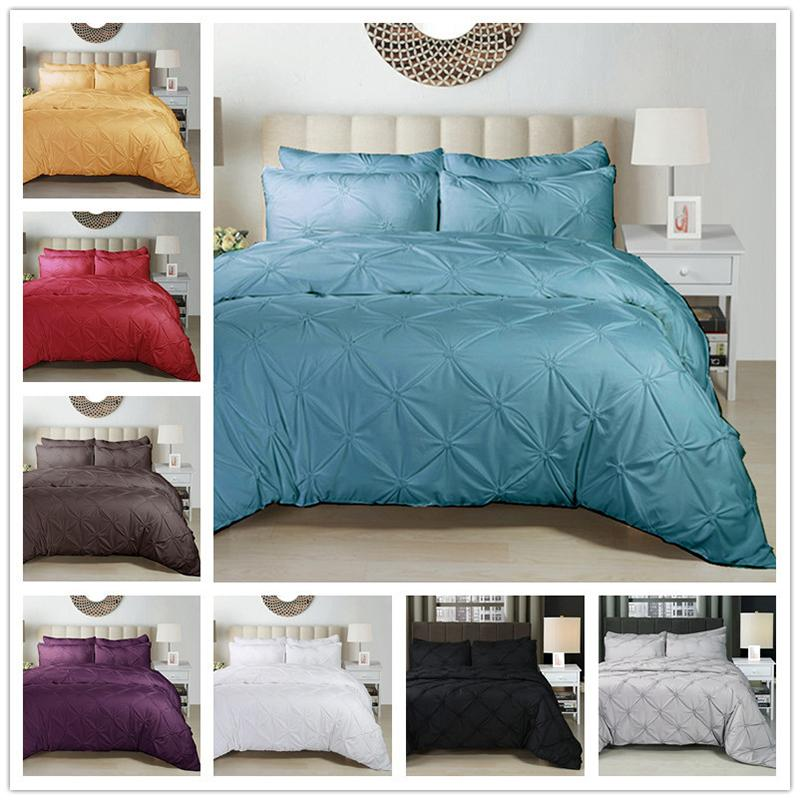 Luxury Duvet Cover Set White/Black/Grey/Red Pinch Pleat 2/3pcs Twin/Queen/King Bedding Sets Bedclothes (no filling no sheet )