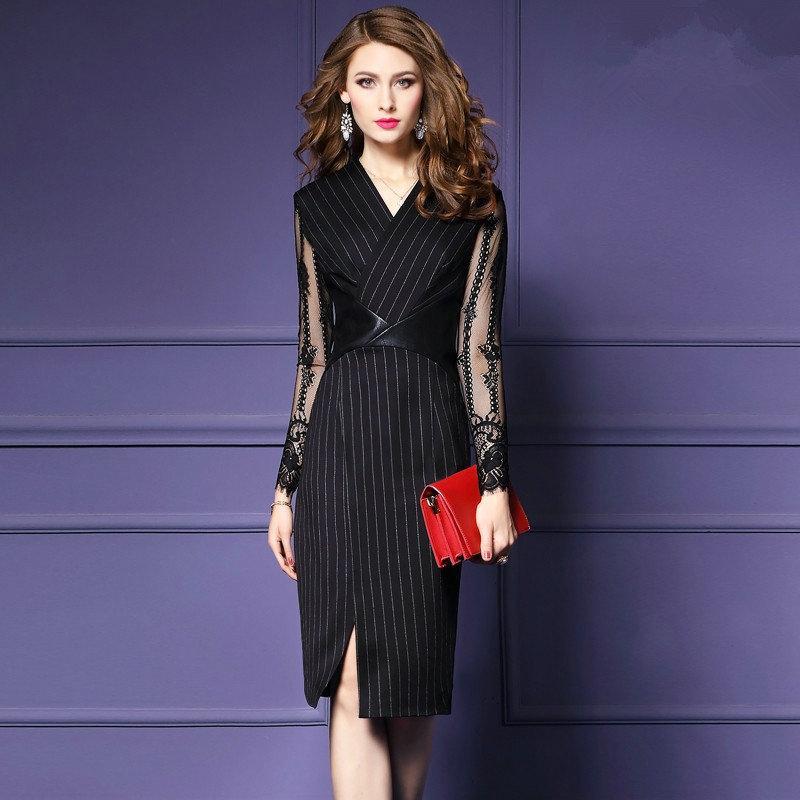 e3dcd2b20b2 Мода новый Кружевной рукав женщин платье V-образным вырезом с длинным  рукавом элегантный сексуальный бизнес платье дамы офисные платья вечерние  платья