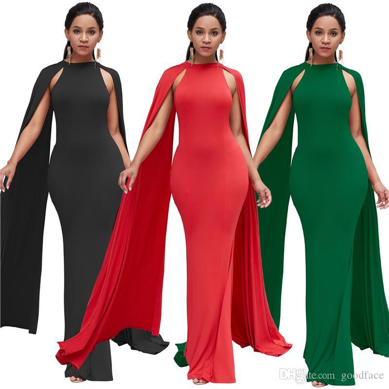 wholesale dealer 50ad4 2b433 Maxi abiti eleganti da donna Vestito a maniche lunghe a pipistrello skinny  stile africano stile etnico colore puro gonna lunga sottile a vita alta