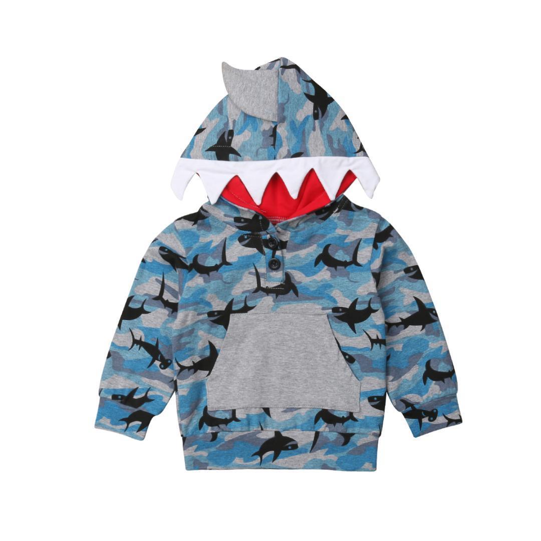 a9ae59304 Toddler Kid Baby Boy Shark Hooded Tops Camo Long Sleeve Sweatshirt ...