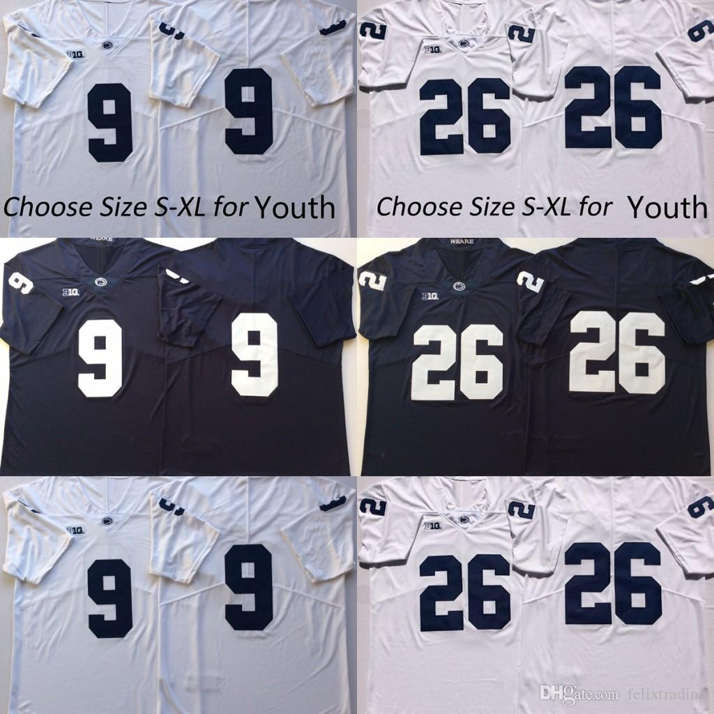 422c421a0 2019 Men Youth Kids Penn State Nittany Lions  9 Trace McSorley 26 Saquon  Barkley College Football Jersey No Name Navy Blue White Football Jerseys  From ...