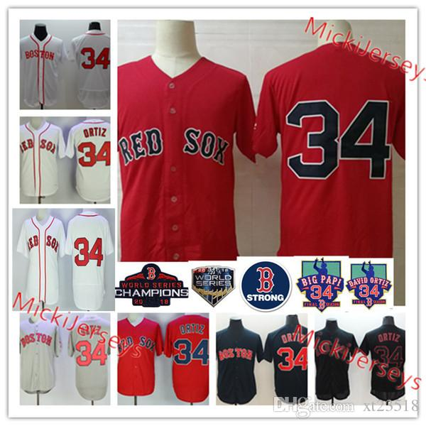 separation shoes 9e03b 0cf60 Mens white Red #34 David Ortiz Strong Retirement Day Patch jersey stitched  David Ortiz Nickname Big Papi Jersey S-3XL