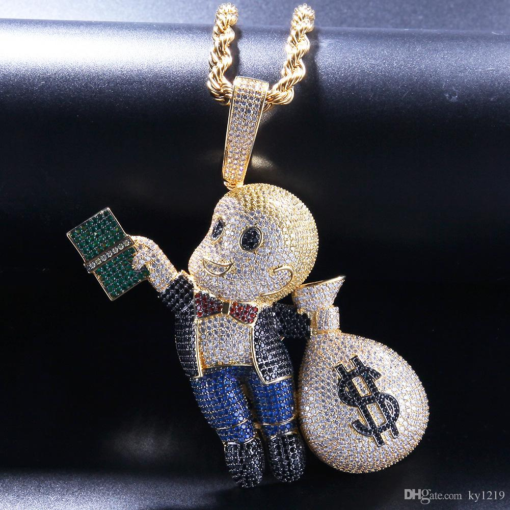 Dollar Boy Money Bag Pendants Hiphop Jewellery Men Hip Hop Necklace 18K Gold Plated Pave Micro CZ Brand Jewelry Necklace Ice Out