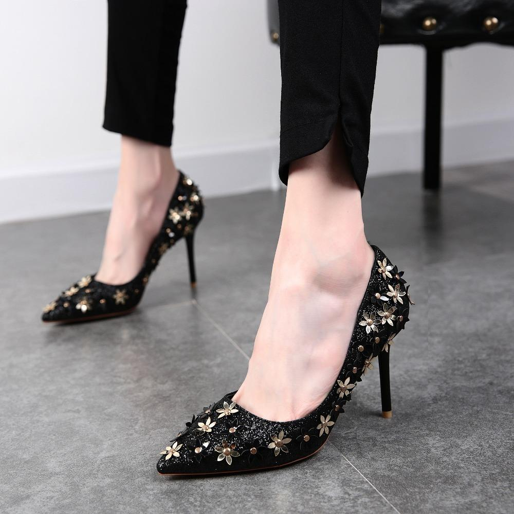 Dress 2019spring New Pointed Shallow Heels Flowers Sequins Fine With A Single  Shoes Banquet Female Wedding Shoes Bridesmaid Shoes Suede Shoes Pumps Shoes  ... 311faf2f890f