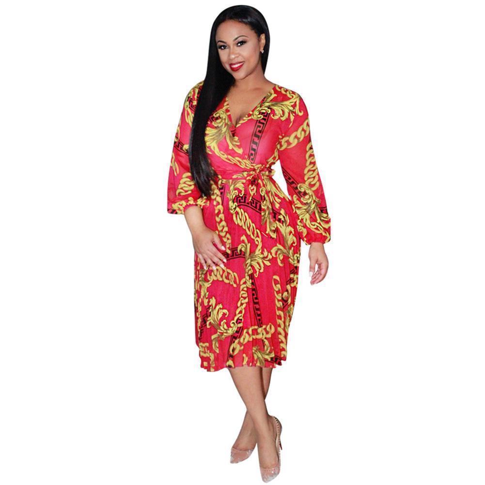 facd08d592fb 2019 New Women Sheer Chiffon Dress Printing V Neck Long Sleeves Tunic Beach  Summer Dress Waist Belt Elegant Party Mid Calf Dress Sun Dress Cheap Dresses  ...