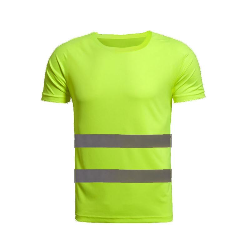 Reflective Safety T-Shirt High Visibility Tees Short Sleeve Tops Safe Gear Gym Fitness Construction Site Women Men\'s Sportswear