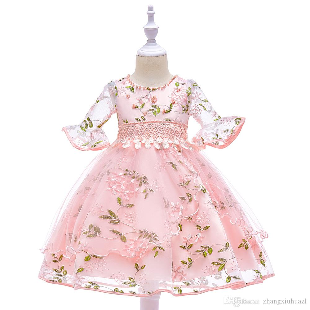 Flower Girl Wedding Dress Kids Clothes Princess Sling Party Dresses For Girl Frocks Children Communion Gown Teenage Girl Clothes