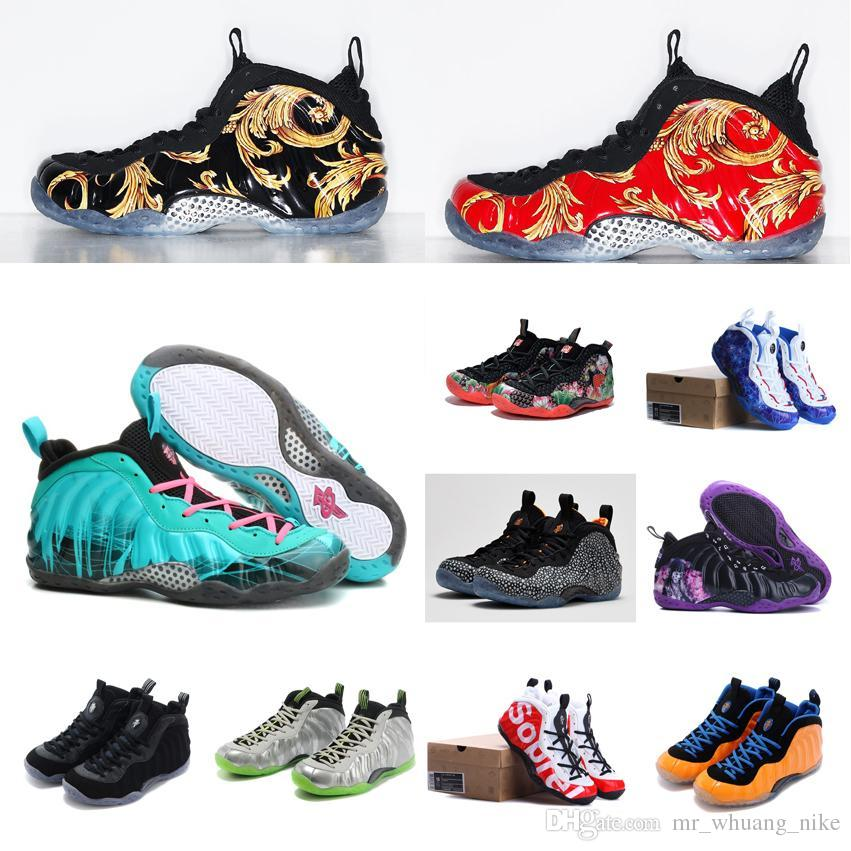 new style fe8df fd379 2019 Cheap New Mens Penny Hardaway Posite Basketball Shoes Camouflage  Silver Floral Black Red Gold Youth Kids Foams One Sneakers Tennis With Box  From ...