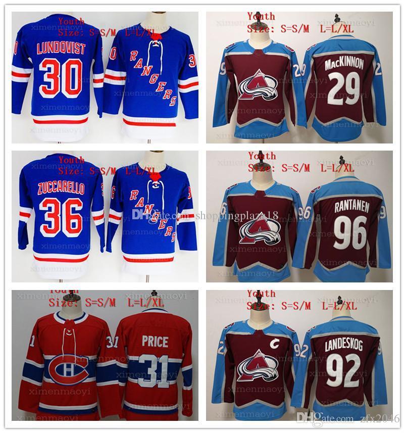 Youth 29 Nathan MacKinnon 96 Mikko Rantanen 92 Gabriel Landeskog 31 Carey  Price 36 Mats Zuccarello 30 Henrik Lundqvist Hockey Jerseys Kids Colorado  ... f582ceabe