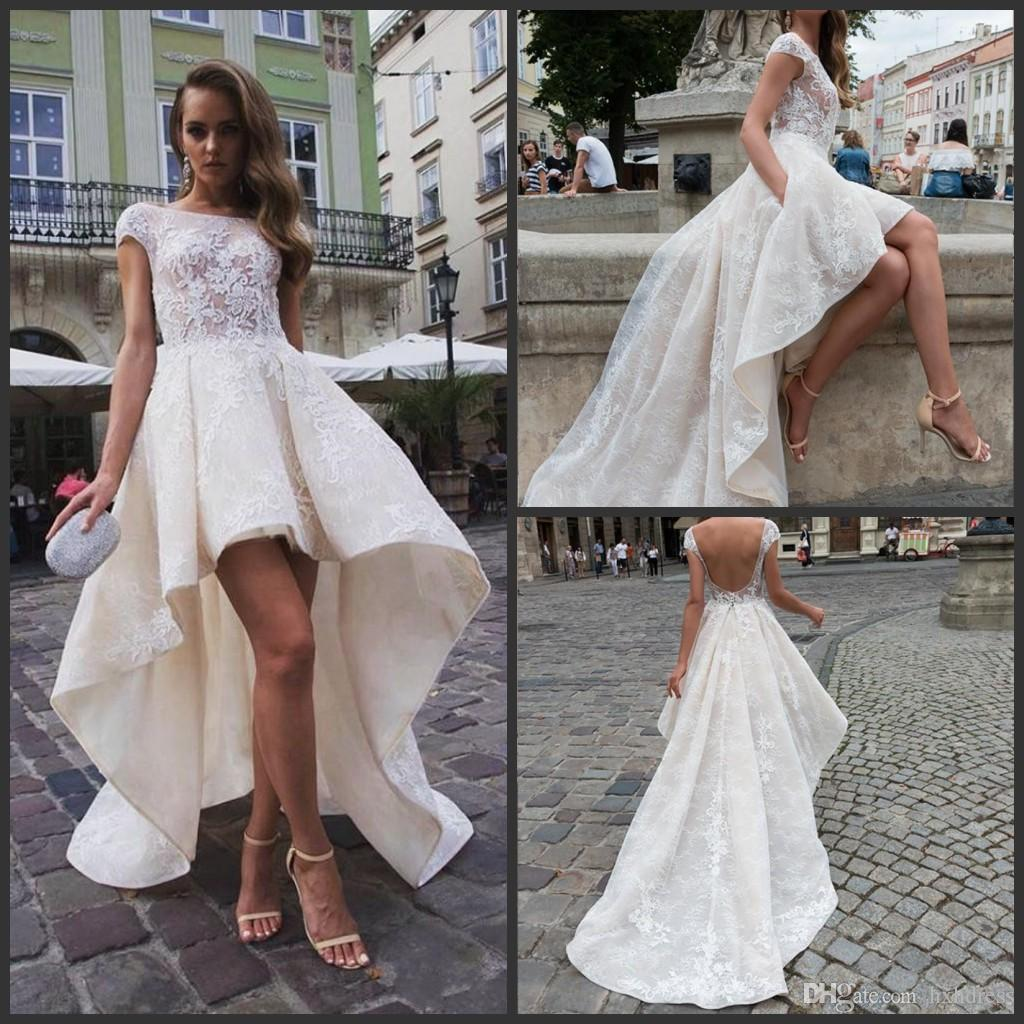 365c8099f5d 2019 New Stylish High Low Backless Wedding Dresses With Cap Sleeves A Line  Bateau Neck Tulle Lace Appliqued Short Bridal Gowns Wedding Dress Sales  Wedding ...