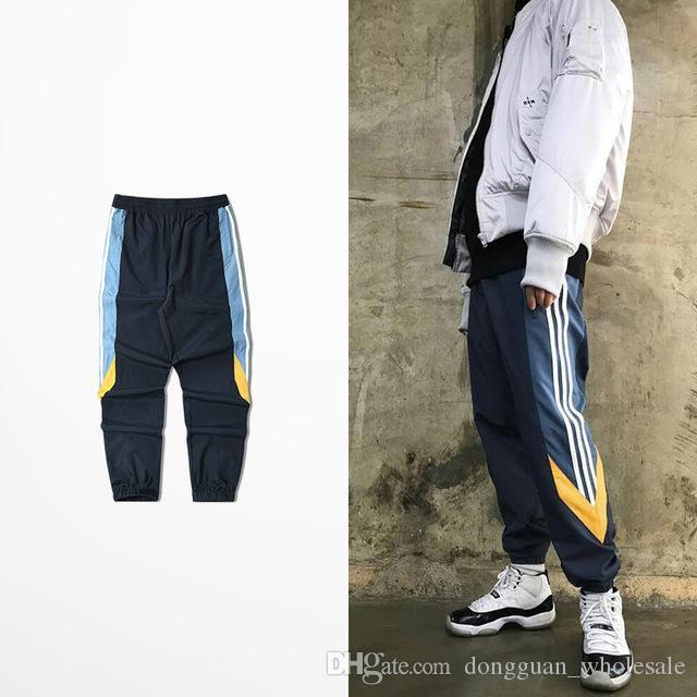 c66f7484 Contrast Color Jogger Elastic Waist Mens Sweatpants Loose Casual Trousers  Men Justin Bieber Kanye West Coast Chic Pants Male Fashion Swag Pants  Sports Pants ...