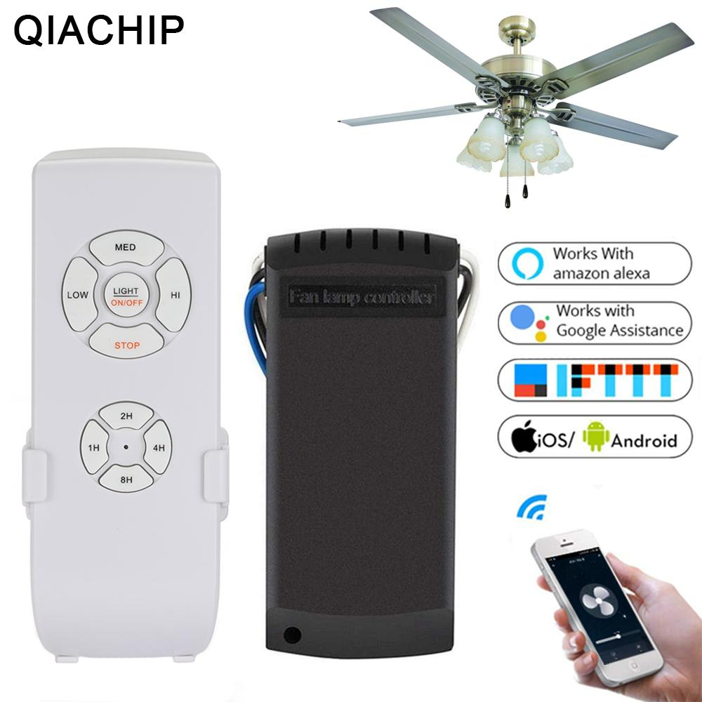 QIACHIP Ceiling Fan Smart Switch Convert Fan Wifi Smart Control Adjust  Speed Dimmer Controller Works With Alexa Google Home