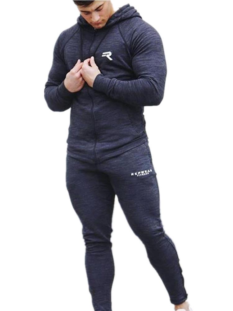e2b2a92891421 Compre Ropa Deportiva Para Hombres Set Correr Gimnasio Sudadera Hombre Ropa  Deportiva Chándal Gimnasio Body Buildin Hombres Sudaderas Con Capucha + ...