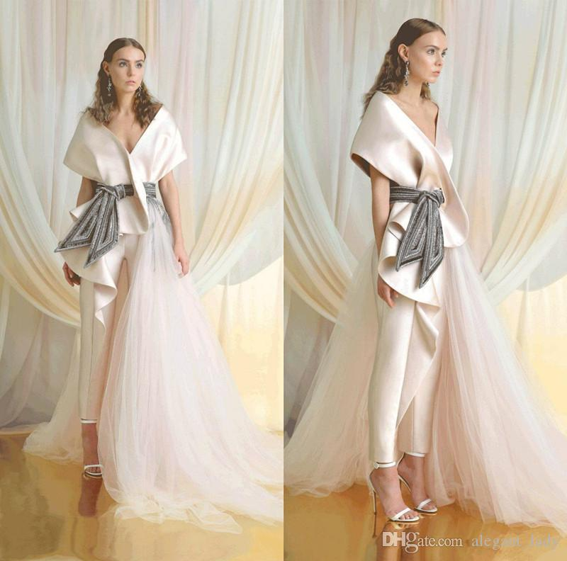 Azzi&Osta Evening Jumpsuit Dress with Detachable Side Train 2020 Light Pale Pink Off Shoulder Lace Stain Occasion Prom Pant Suit Dress