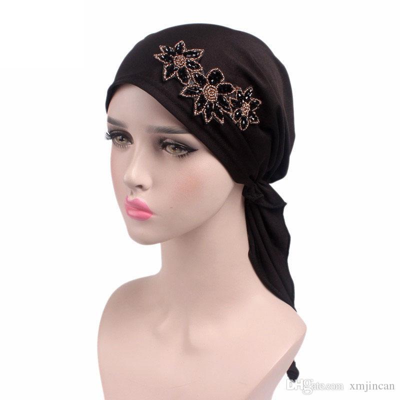 54eee907c23 New Women Fashion Floral Muslim Turban Hats Indian Cap Female Cancer ...