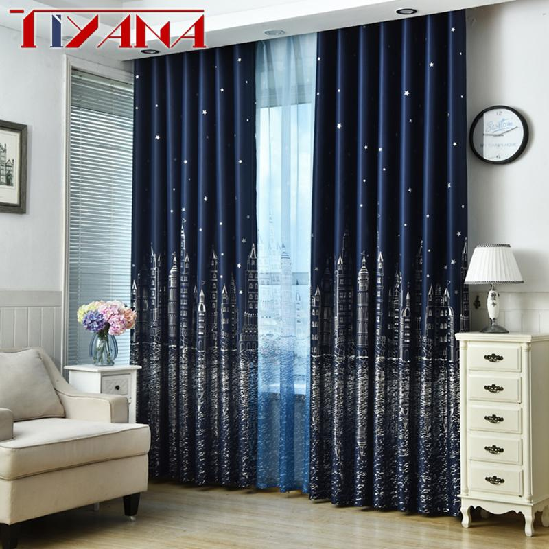 Blue Star Castle High Shading Curtains For Child Room Cartoon Curtains  Tulle For Baby Boys Bedroom Blackout wp230&20