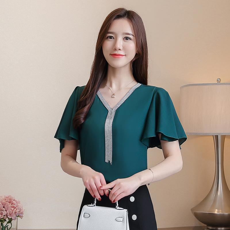 5ba76a231 Compre Blusa Para Mujer Camisas De Gasa De Verano Tops Moda Femenina  Coreana Señora De La Oficina Elegante Mujer Más El Tamaño Blusa Tops XXXL A  $33.72 Del ...