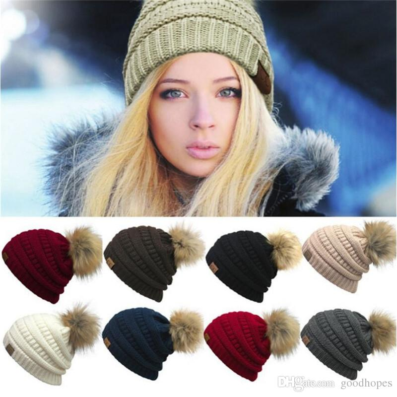 e27e11f7a74 Women Winter Warm Hat Knitted Fur Poms Beanie Unisex Trendy Hats ...
