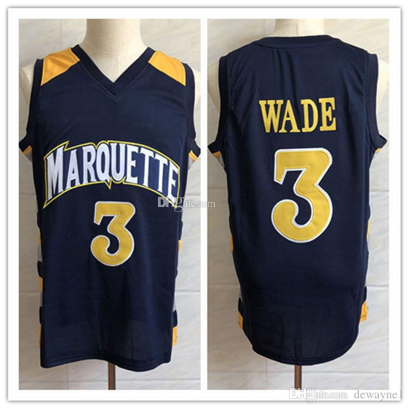 37baa04b967 Custom Dwyane Wade #3 Marquette Golden Eagles College Navy blue Retro Basketball  Jersey Men's Stitched Jerseys for men women kids