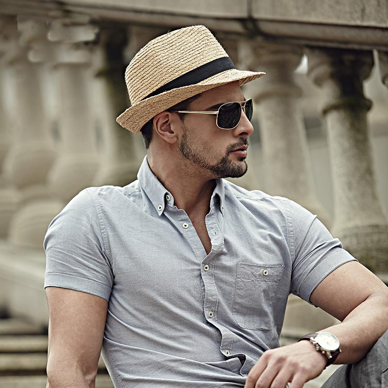 2016 Fashion Summer Straw Men S Sun Hats Fedora Trilby Gangster Cap Summer  Beach Cap Panama Hat Sombrero Travel Sunhat 15 C19011401 Mens Hats Floppy  Hat ... 9e1b1384a19