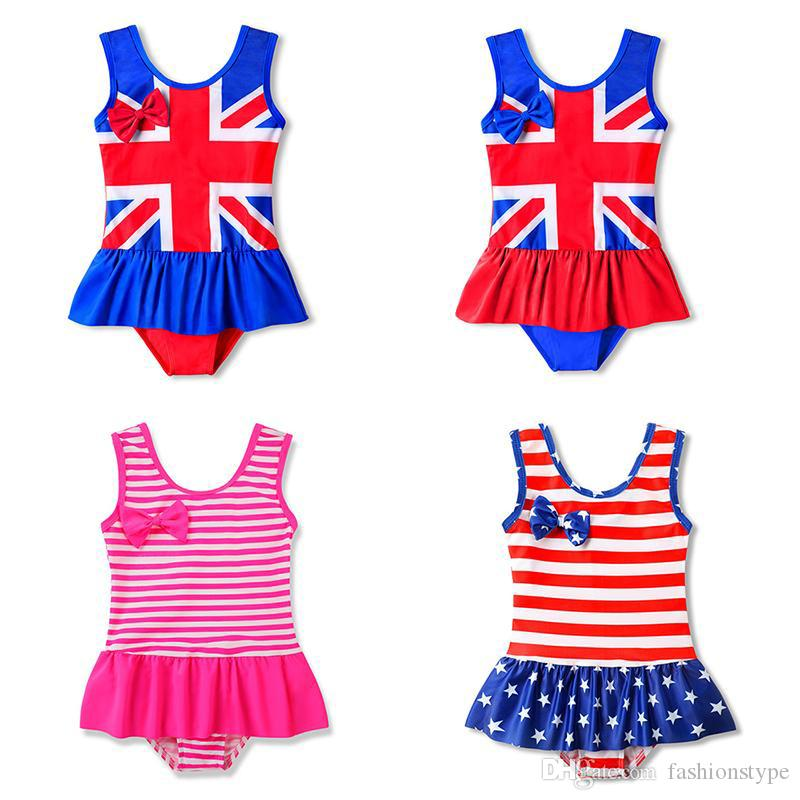 Children UK American flag Swimwear 2019 summer ruffle Star stripe print Bathing Suit baby Bikini Kids One Pieces Swimsuit