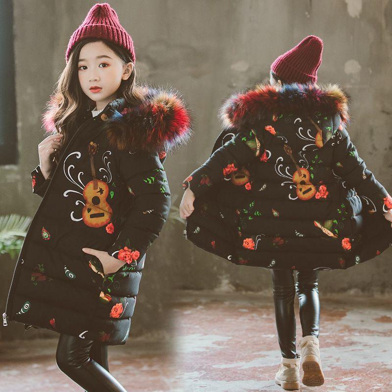a5d2b9a62c87a Acheter Adolescence Nouveau Noir Fleur Épais Manteau Hiver Costume De  Porter Pour Les Filles Coton Parka Enfant Casual Hoodies Vers Le Bas Vestes  De  57.29 ...
