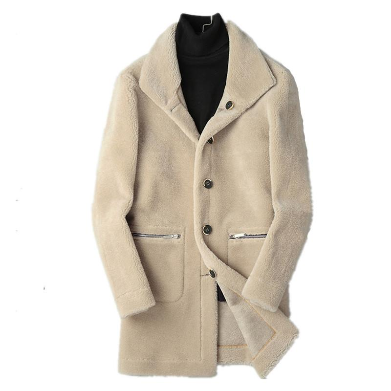 5cf9eed328d 2019 100% Wool Coat Winter Jacket Men Real Sheep Shearling Fur Warm Coats  Double Side Wear Suede Jackets 4xl Chaqueta Hombre MY1656 From Caesarl