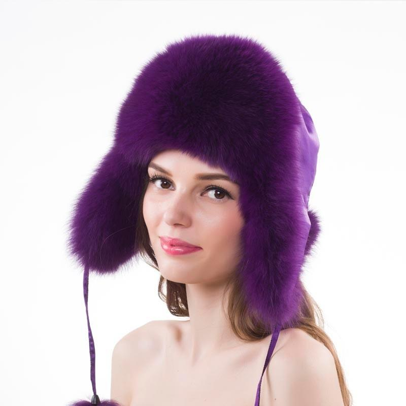 Winter Real Fox Fur Hat Women 100% Natural Real Raccoon Fur Cap ... dbb44afbdffa