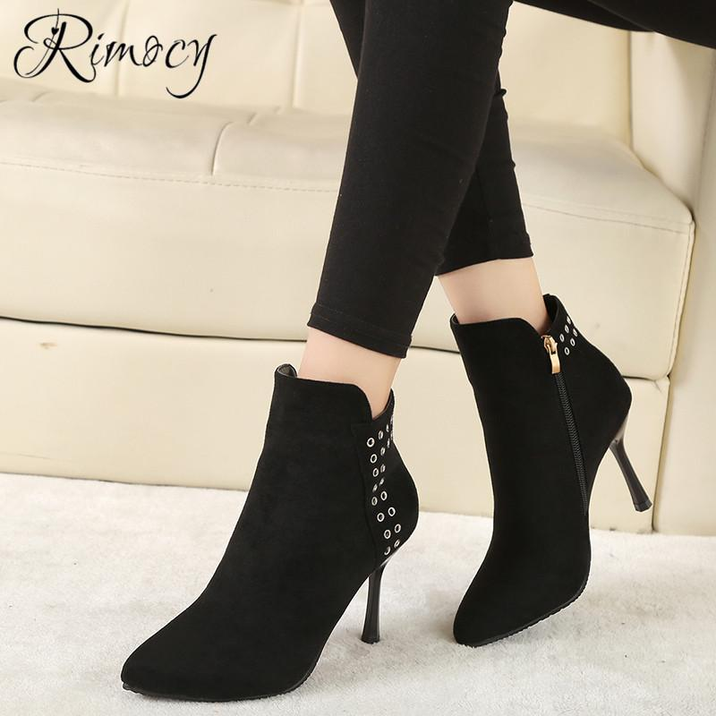 20f06e0c Rimocy Fashion Stiletto Botines Mujer 2019 Spring Ankle Boots For Women  Side Zipper Nubuck Botas Femme Sexy Pointed Toe Shoes Shoes For Sale Cheap  Cowgirl ...
