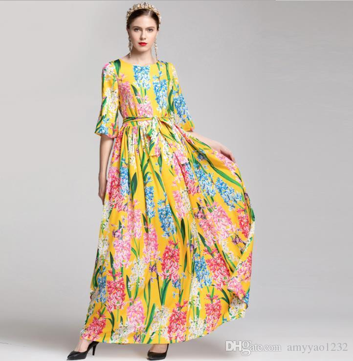5bb8a1ed90d270 Acheter 126 Nouvelle Arrivée 2019 Printemps Plus La Taille Robe Piste De  Luxe Robe Flora Manches 3/4 Empire Ras Du Cou Robes De Mode YY De $116.59  Du ...