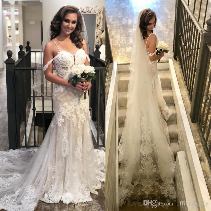 2019 Sweetheart Spaghetti Mermaid Lace Wedding Dresses