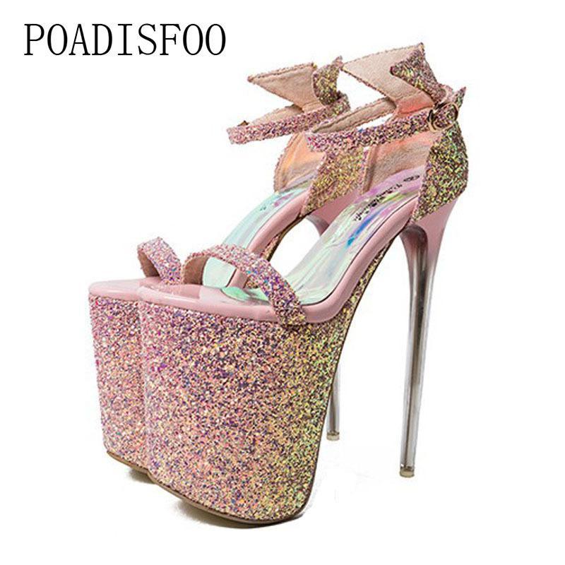 c06614e3 Compre Zapatos De Vestir De Diseñador POADISFOO Super Tacón Alto Odio Alto  20 Cm Sandalias Sexy Discoteca Para Mujeres 9 Cm Impermeable Plataforma  Tamaño 43 ...