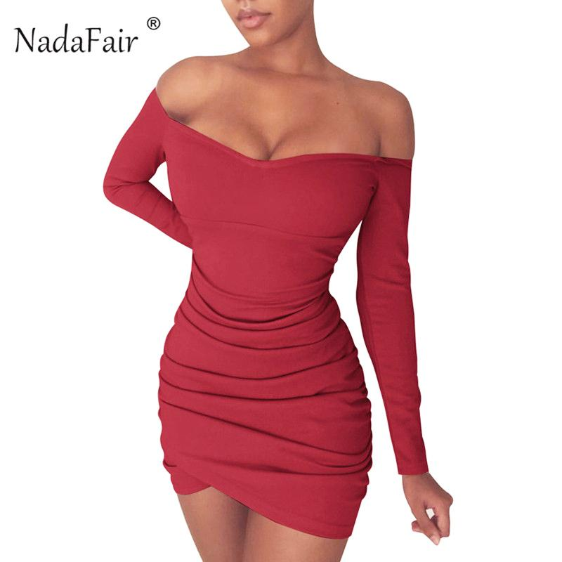 Nadafair Long Sleeve Off Shoulder Women Bodycon Club Party Mini Autumn Drapped Wrap Sexy Dress Red Black White Q190516
