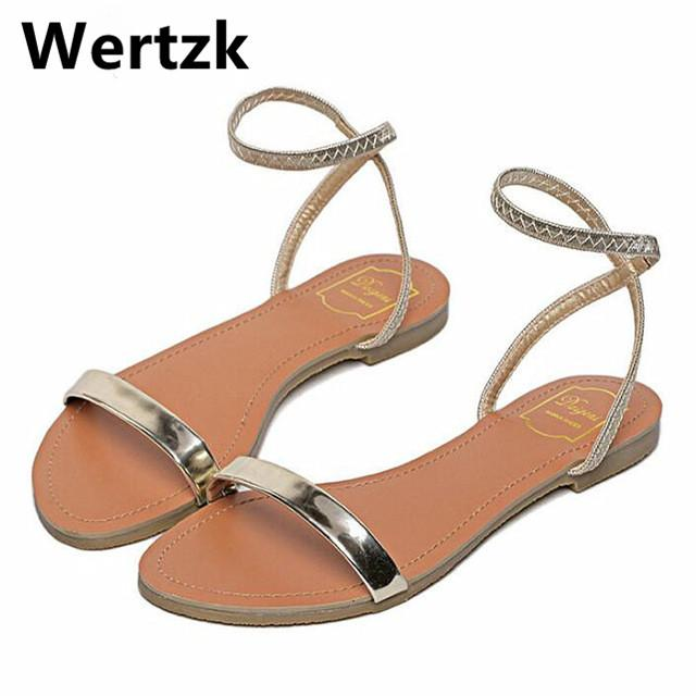 e0228da663d75 Gold Black Sandals With Buckle Strap Sandalias Mujer New 2018 Women Sandals  Sexy Thin Belt Flat For Women Summer L188 Summer Shoes Purple Shoes From ...