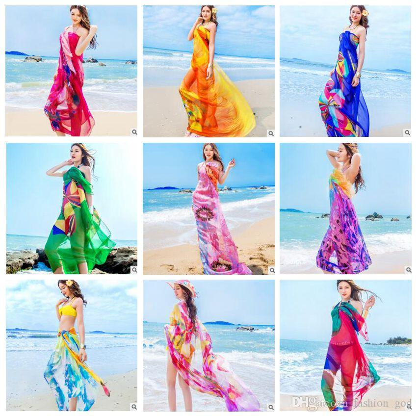 e970f9a9847f1 2019 Bikini Cover Ups Women Floral Beach Wraps Sunscreen Beach Shawl Swim  Towel Femme Fashion Scarf Women Chiffon Pareo Tulle Dress Sarong B4526 From  ...
