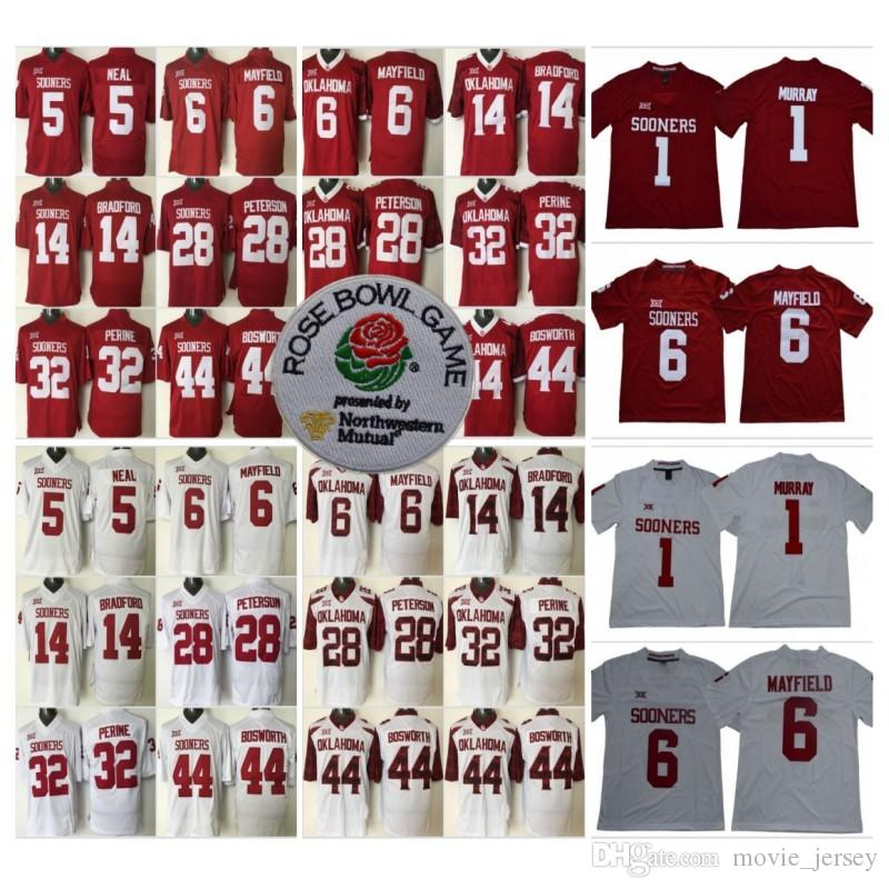 66466c73 2019 NCAA College Oklahoma Sooners 1 Kyler Murray Jersey 6 Baker Mayfield  14 Sam Bradford 28 Adrian Peterson 44 Brian Bosworth 32 Samaje Perine From  ...